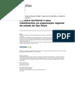 Dinâmica Territorial e Seus Rebatimentos Na Organização Regional Do Estado de SãoPaulo