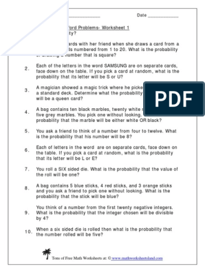Probability.pdf | Worksheet | Probability