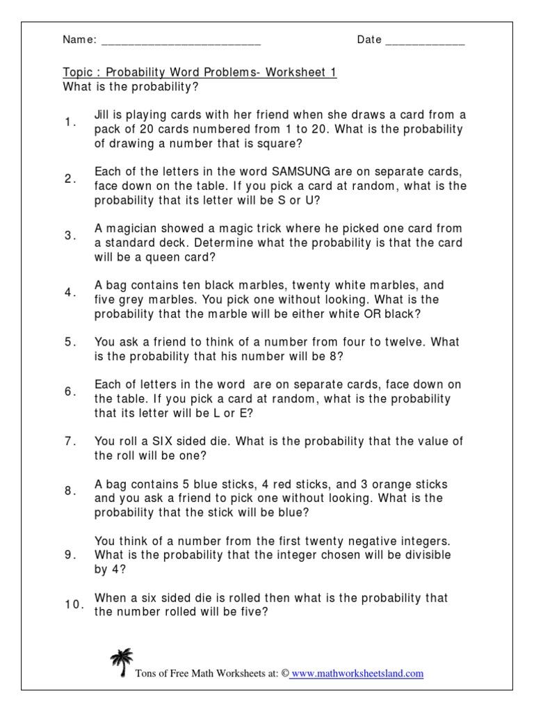 Probability.pdf   Worksheet   Probability