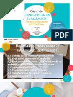 Evaluación Calidad Educativa, Evaluacion de Instituciones Educativas