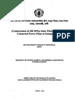 DPP of Constructionof 100 MW Solar BPDB