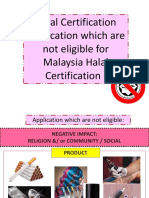 Ineligible Halal Certification Category for Malaysia