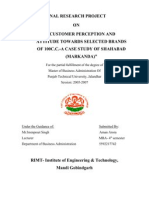 Customer Perception and Attitude Towards Selected Brands of 100c.c.-a Case Study of Shahabad