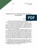 Fragmentos de Un Seminario Sobre La Virtud y La Autonomía.
