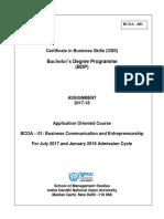 BCOA-001 (E) 2017-18