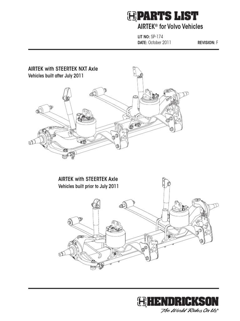 hendrickson - airtek parts list for volvo vehicles (sp174f)   screw   axle