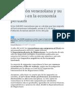 Migración Venezolana y Su Impacto en La Economía Peruana