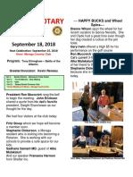 Rotary Newsletter for Sept 18 2018