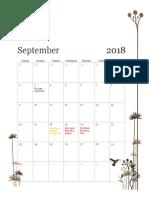 monthly calendar - fall 2018 2