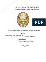 Presupuestación en Operaciones Mineras