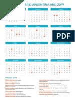 Calendario Argentina 2019