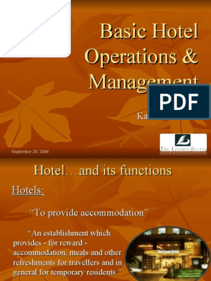 Basic Hotel Operations & Management