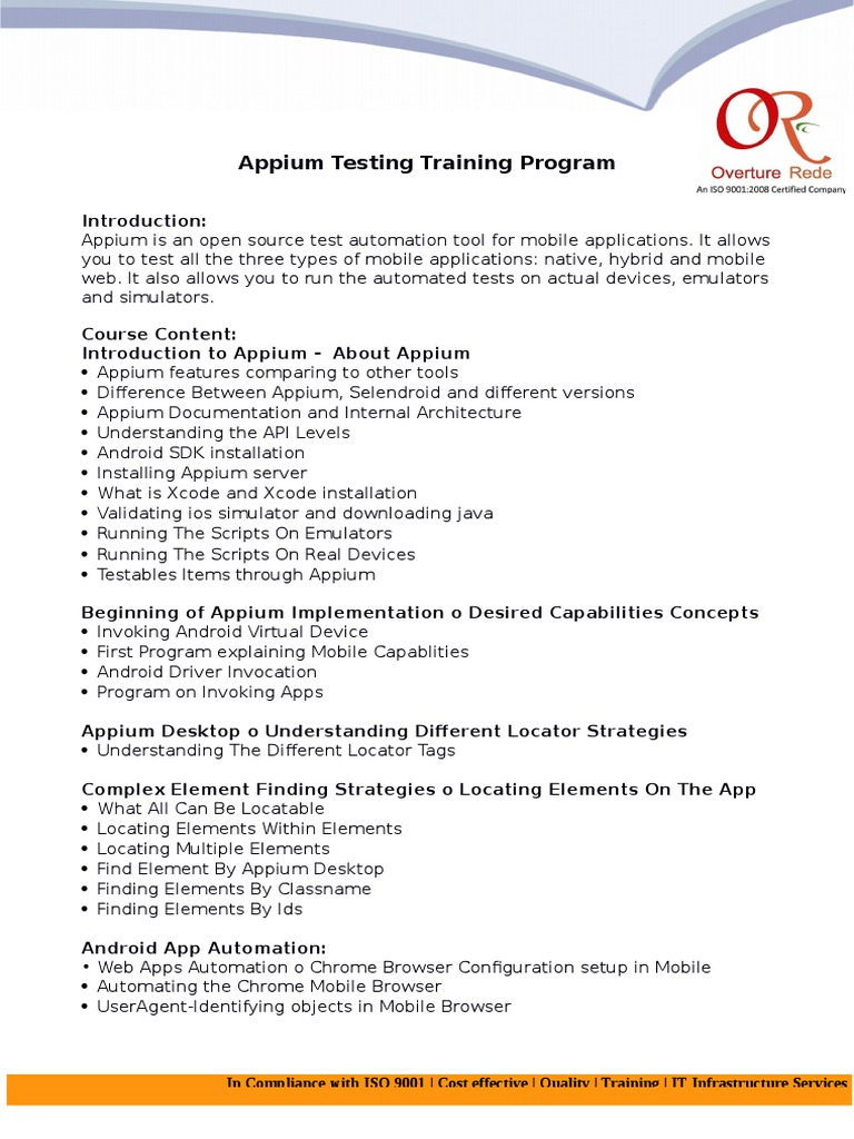 Appium Testing Course Outline   Mobile App   Android