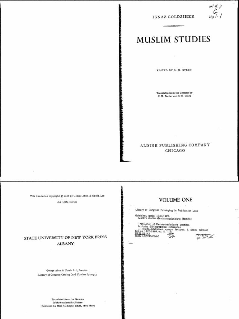 Ignaz Goldziher Muslim Studies 1 Pdf Muhammad Arabic