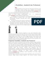 Pengertian Pendidikan Akademik dan Profsional