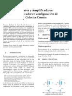 Informe de Laboratoio Nº2 Amplificador en configuración de Colector Común