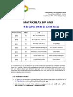 Informação Alunos Matrículas Para 10º Ano(1)