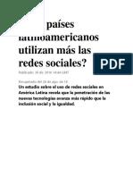 Qué Países Latinoamericanos Utilizan Más Las Redes Sociales