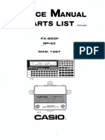Service Manual & Part List - Casio Fx 850p - 1987
