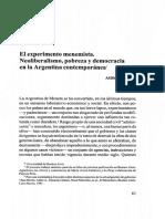 El experimento menemista. Neoliberalismo, pobreza y democracia en la Argentina contemporánea.- Atilio A. Borón.