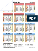 School Calendar 2018 2019 Portrait Year at a Glance