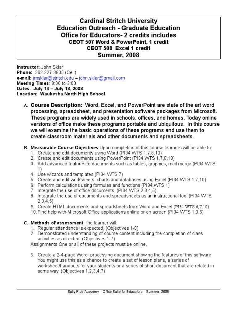 Office Suite For Educators Syllabus Summer08 Microsoft Excel