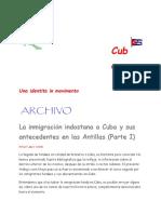 La inmigración indostana a Cuba y sus antecedentes en las Antillas