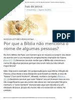 Por Que a Bíblia Não Menciona o Nome de Algumas Pessoas_ _ Nossos Leitores Perguntam..