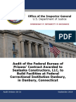 DOJ OIG Audit of the Federal Bureau of Prisons' Contract Awarded to Sealaska Constructors, LLC, to Build Facilities at Federal Correctional Institution Danbury, in Danbury, Connecticut