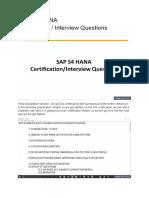 SAP S4 HANA Certification Interview Questions
