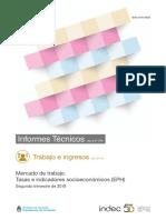 Tasas e indicadores socioeconómicos de Trabajo del segundo trimestre 2018 - INDEC