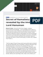 Secret Ramasetu Revealed Immortal Lord Hanuman