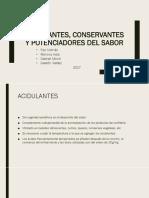 Acidulantes, Conservantes y Potenciadores Del Sabor (1)