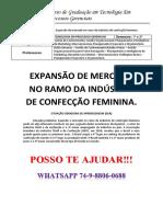 Unopar Processos Gerenciais 3 e 4 Semestre Expansão de Mercado No Ramo Da Indústria de Confecção Feminin