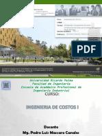 Cp Sesión 1 Introducción a La Ingeniería de Costos