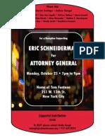 Eric Schneiderman for A.G.! West Village, Oct. 25, 7 p.m.