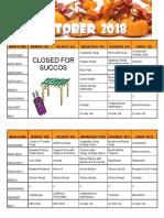 October 2018 Menu