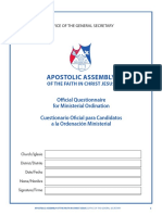 Official Questionnaire for Ministerial Ordination2016