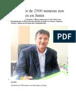 Alrededor de 2500 Mineras Son Informales en Junín