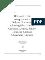 Libro Ordenes Normativos e Inter Legal Id Ad. Mujeres Quechuas, Aymaras, Siriono, Tri Nit Arias, Chimane, as y Ayoreas