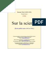 Simone Weil - Sur La Science