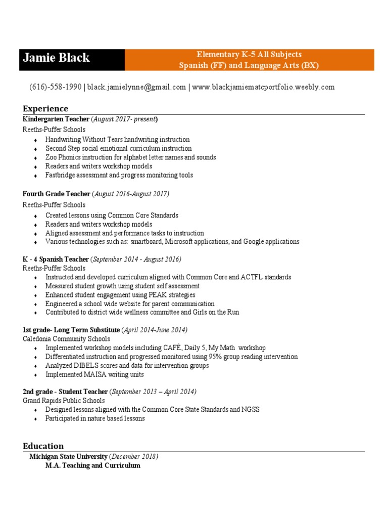 Matc Resume 1 Common Core State Standards Initiative Curriculum