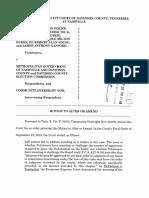 Motion to Alter or Amend in the Fraternal Order of Police Et Al. v. Metro Gov't. Et Al. Case