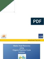 3-1 Nicolas Bernier - Waste Heat Recovery Using Organic Rankine Cycle Turbines