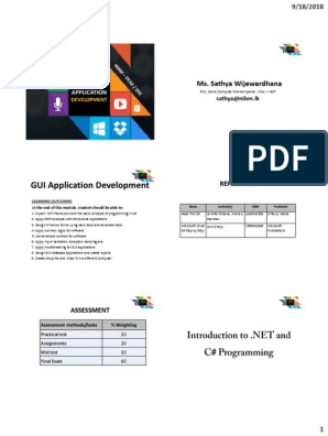 1_Intro pdf | C Sharp (Programming Language) | Microsoft