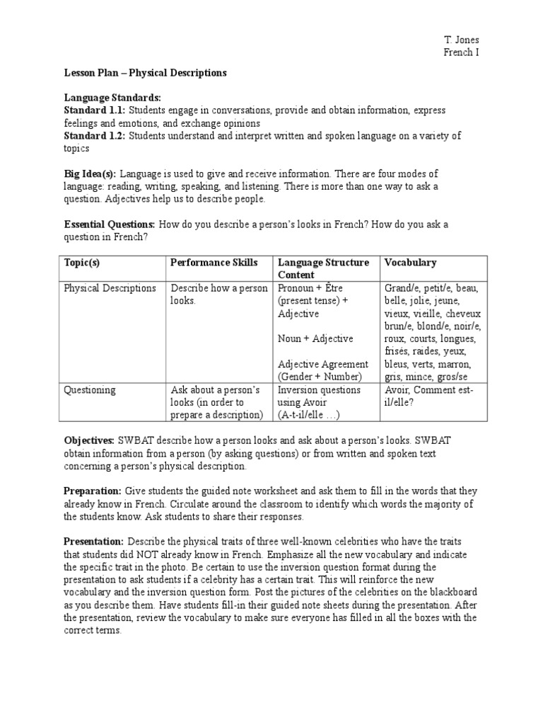 French Physical Descriptions Lesson Plan Grammatical Gender Adjective