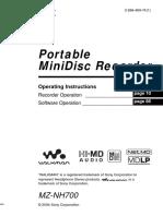 Sony MZ-NH700 Operation Manual