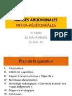 IMAGERIE - Masses abdominales intra-péritonéales chez l'adulte - MALLEK