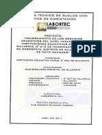 INFORME DE SUELOS-MEJ. DE LOS SERV. EDUCATIVOS I.E.I. N° 027 DE SILLAPATA