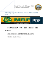 National Bank of Pakistan Internship Report